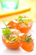 tuna stuffed tomato celery corn soya bean - stock photo