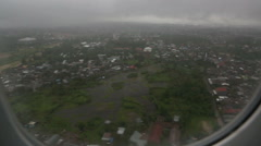 View of tropical monsoon weather from airplane window Stock Footage