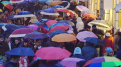 Colorful umbrellas in Rome in via Condotti during christmas time Stock Footage
