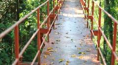 Walking on tree canopy walkway in Thailand Stock Footage