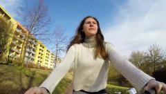 girl woman on  bike in european city ,  action camera - stock footage
