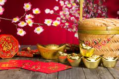 Chinese new year decorations ,chinese character symbolizes gong xi fa cai wit Stock Photos