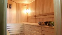Beautiful sauna camera moves from the floor and up Stock Footage
