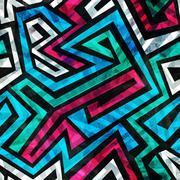 Blue labyrinth seamless pattern Stock Illustration