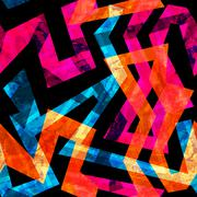 bright labyrinth seamless pattern with grunge effect - stock illustration