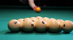 Pool spread on billiards table view from the table Stock Footage