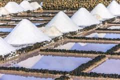 salt piles in the saline of Janubio - stock photo