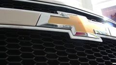 Slow review of the Chevrolet logo on the car bumper Stock Footage