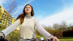 girl woman bike,  action camera - stock footage