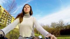 Girl woman bike,  action camera Stock Footage