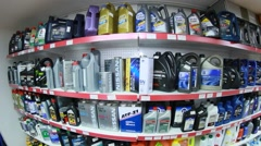 Automobile oils in the auto shop Stock Footage