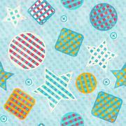 fabric figures seamless pattern - stock illustration