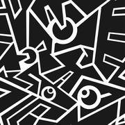 futuristic monochrome seamless pattern - stock illustration