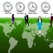 business at different time zones - stock photo