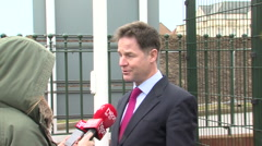 Politician Nick Clegg interviewed by a journalist during visit to British town - stock footage