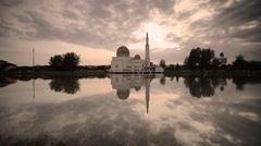 Sunrise At As Salam Mosque or The Floating Mosque, Static Camera Stock Footage
