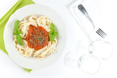 home made bolognese noodles - stock photo
