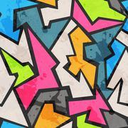 grunge colored graffity seamless pattern - stock illustration