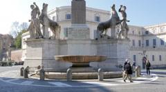 Obelisk in the Plaza del Quirinale. Rome, Italy Stock Footage