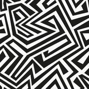 monochrome tribal seamless pattern - stock illustration
