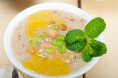 Hearty Middle Eastern Chickpea and Barley Soup Stock Photos