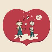 Red romantic couple illustration Stock Illustration