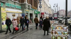 People on the streets of Vladivostok, Russia Stock Footage