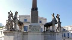 Sculptural ensemble Dioscuri. Plaza del Quirinale. Rome, Italy. 4K Stock Footage