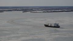 icebreaker on the Northern Dvina - stock footage