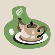 Teapot with sugar Stock Illustration
