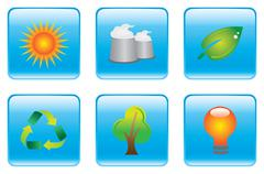 Blue Environmental Conservation Icon Set - stock illustration