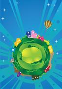 Fantasy Planet Earth Vector Illustration - stock illustration