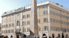 Obelisk of Montecitorio. Rome, Italy Stock Footage