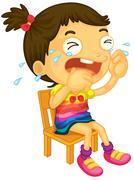 Crying girl - stock illustration