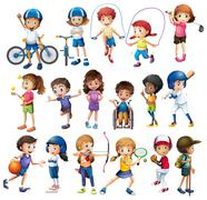 Children and sports - stock illustration