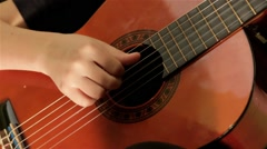 Guitarist Playing Acoustic Guitar Close Up View Of Sound Box Stock Footage
