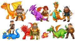 Vikings and dragons - stock illustration