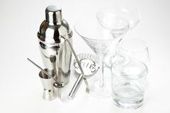 Set of shiny aluminum shaker Stock Photos