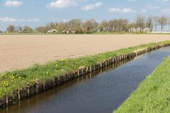 Dutch rural landscape with ditch and farmland Stock Photos
