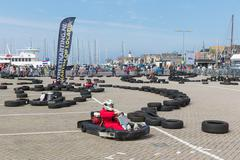 Kart racing  at a national holiday at the harbor of Urk, the Netherlands Stock Photos