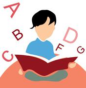 Kid reading a book, white background with alphabets Stock Photos