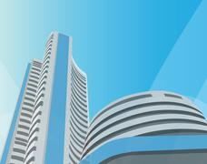 bombay stock exchange, bombay, mumbai - stock photo