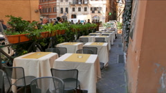 Tables in the cafe. Rome, Italy  Stock Footage