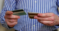 Man's Hands Are Sorting Credit Cards 4k Stock Footage