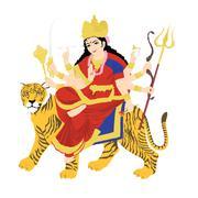 Goddess durga on tiger, statue with white background Stock Photos