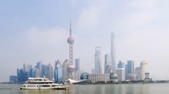 Shanghai skyline at the bund Stock Footage