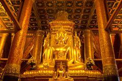 Big golden Buddha image in Wat Phumin in Nan, Thailand Stock Photos