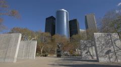 4K video East Coast Memorial with skyscrapers in background, New York City Stock Footage