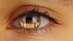 Fire in Eye, close up Stock Footage