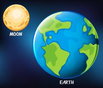 Earth and moon in the sky Stock Illustration